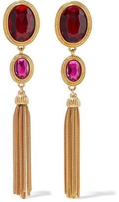 Ben-Amun 24-Karat Gold-Plated Crystal Tassel Earrings