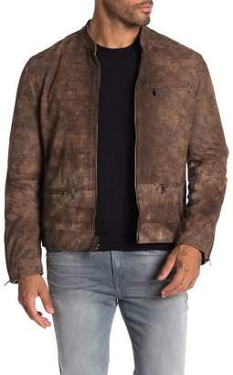 John Varvatos Leather Zip Front Slim Fit Jacket