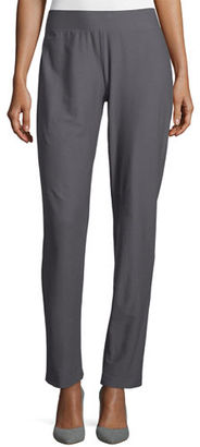 Eileen Fisher Washable-Crepe Slim-Leg Pants, Ash $168 thestylecure.com