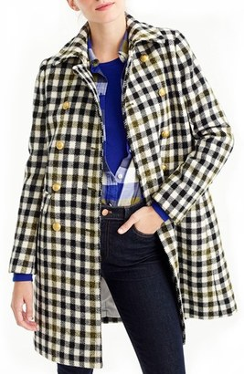 Women's J.crew Oxford Check Double Breasted Coat $378 thestylecure.com