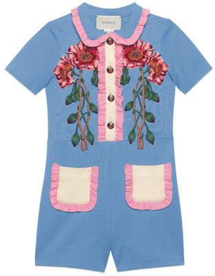 Gucci Ruffle-Trim Jersey Stretch Shortall w/ Flower Appliqués, Size 4-12