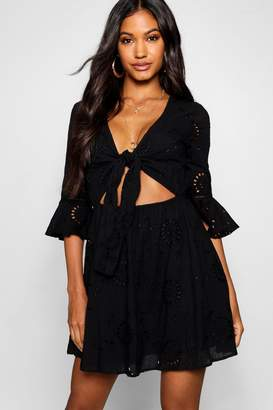 boohoo Knot Front Broderie Anglaise Skater Dress