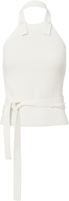 Helmut Lang Ribbed Knit Button-Back Halter Top $230 thestylecure.com