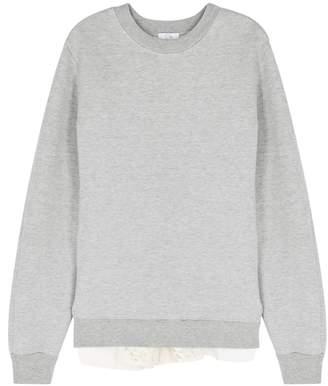 Clu Grey Guipure Lace Jersey Sweatshirt