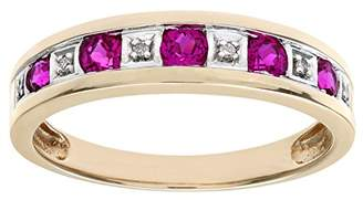 N. Naava Women's Round Brilliant Ruby and Diamonds 9 ct Yellow Gold Eternity Ring - Size J