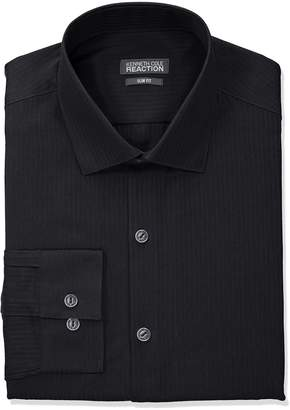 Kenneth Cole Reaction Men's Slim Fit Textured Stripe Solid Dress Shirt