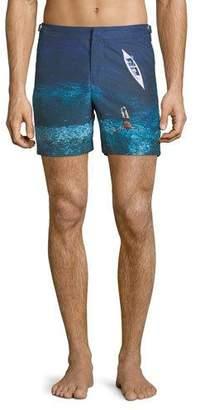 Orlebar Brown Bulldog Deep Sea Printed Swim Trunks, Blue
