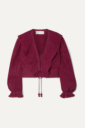 Zimmermann Suraya Ruffled Lace-up Crinkled Ramie And Cotton-blend Top - Burgundy