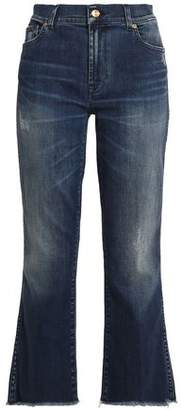 7 For All Mankind Distressed Faded Mid-Rise Bootcut Jeans