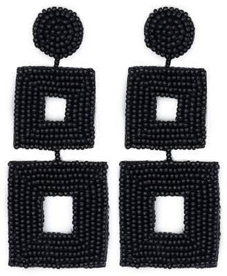 Kenneth Jay Lane Black Seed Bead Open Double Square Shape Drop Pierced Or Clip Earrings