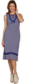 C. Wonder Petite Printed Knit Midi Dress withLace Trim