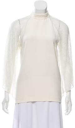 Tamara Mellon Silk Lace-Accented Top