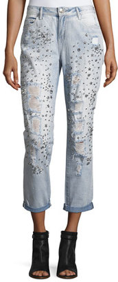 True Religion Embellished Boyfriend Denim Jeans, Indigo $289 thestylecure.com