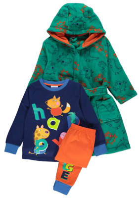 George Peppa Pig Navy Pyjamas and Dressing Gown Outfit