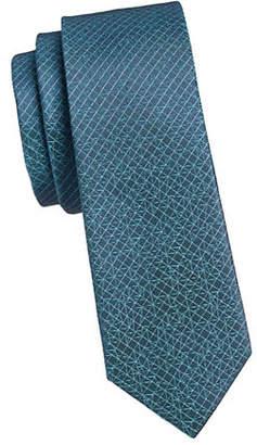 Calvin Klein Slim Shattered Grid Silk Tie