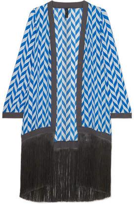 Liliana Emma Pake Fringed Printed Silk Crepe De Chine Robe - Bright blue