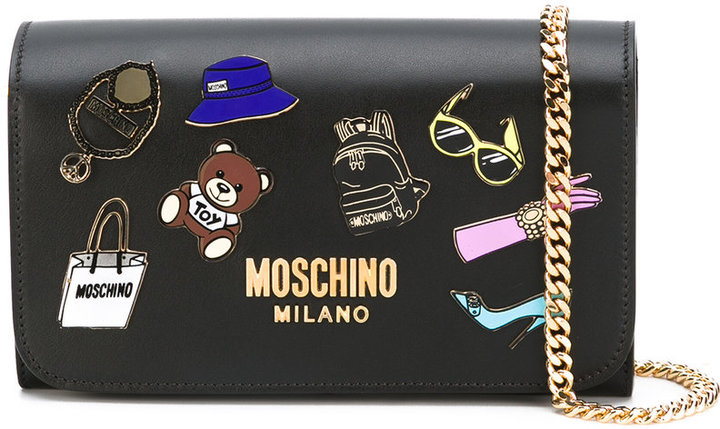 Moschino Moschino badge appliqué wallet on chain bag