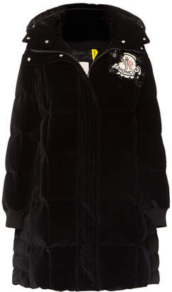 Simone Rocha Moncler Genius - 4 Appliquéd Quilted Cotton-velvet Down Hooded Coat - Black