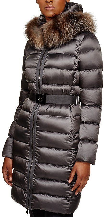 Moncler Moncler Tinuviel Fox Fur Trim Belted Down Coat