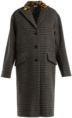 Miu Miu Single-breasted wool and faux-fur coat