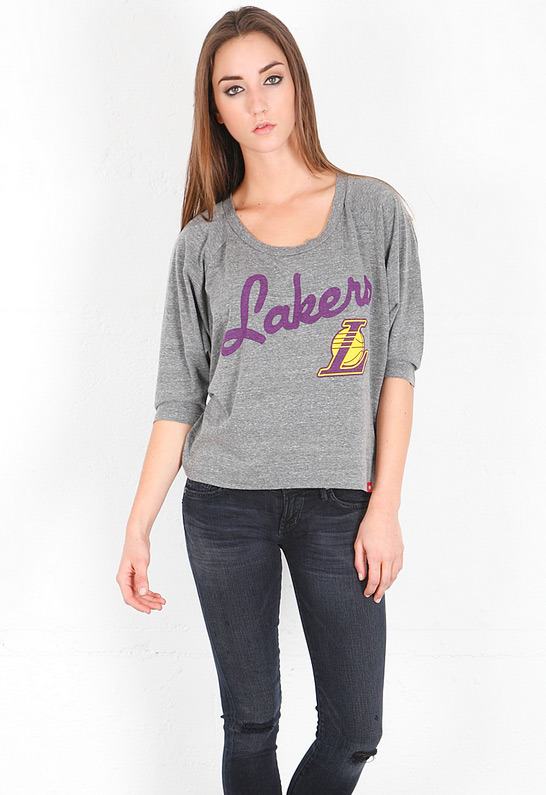 Singer22 Sportiqe Lakers Marshall Boxy Dolman Tee in Heather Grey