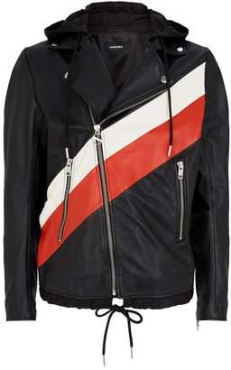 Diesel Hooded Leather Biker Jacket