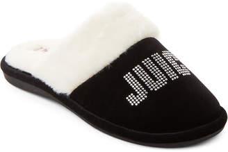 Juicy Couture Black Gabi Crystal Logo Slippers