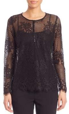 SET Button Front Lace Blouse