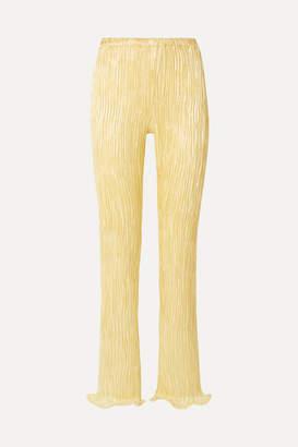 Sies Marjan Karolina Ruffled Plissé Linen-blend Straight-leg Pants - Pastel yellow