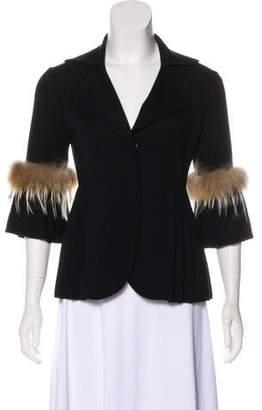 Fendi Fur-Trimmed Wool Cardigan