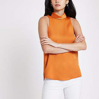 River Island Orange satin high neck top