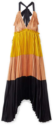 Ulla Johnson Gisella Pleated Color-block Satin Maxi Dress - Yellow