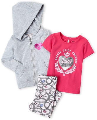 Juicy Couture Infant Girls) 3-Piece Foil Heart Logo Hoodie & Printed Leggings Set