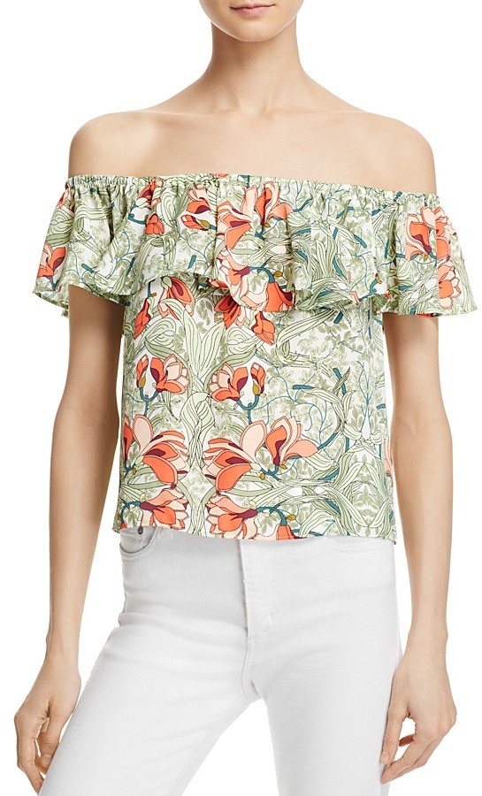 GUESS Floral Off-the-Shoulder Ruffle Top