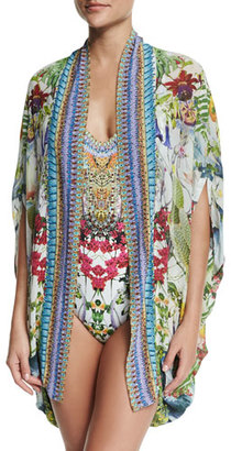 Camilla Open-Front Embellished Silk Cardigan/Cape Coverup, Exotic Hypnotic $430 thestylecure.com