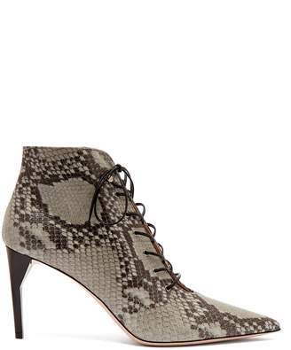 Miu Miu Python-effect leather ankle boots