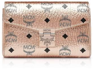 MCM Champagne Gold Millie Visetos Small Crossbody Bag
