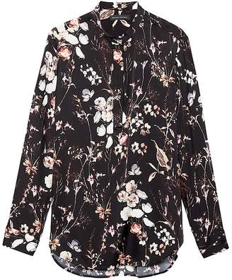 Banana Republic Parker Tunic-Fit Floral Washable Stretch Silk Popover Shirt