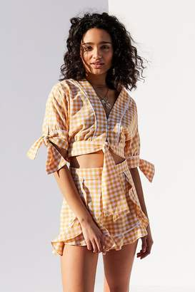 The Fifth Label Idyllic Gingham Tie Cropped Top