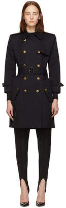 Givenchy Navy 4G Buttons Trench Coat