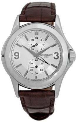 Patek Philippe Travel Time 5134-G 18K White Gold & Leather 37mm Watch $16,990 thestylecure.com