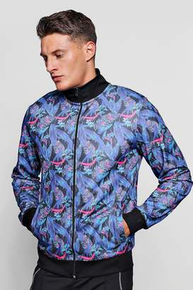 boohoo Tropical Feather Print Track Top Jacket