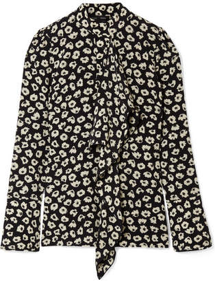 Proenza Schouler Woman Knotted Floral-print Silk-crepe Blouse Black Size 4 Proenza Schouler Free Shipping Shop For Sale Pre Order Buy Cheap Fake bbeLC