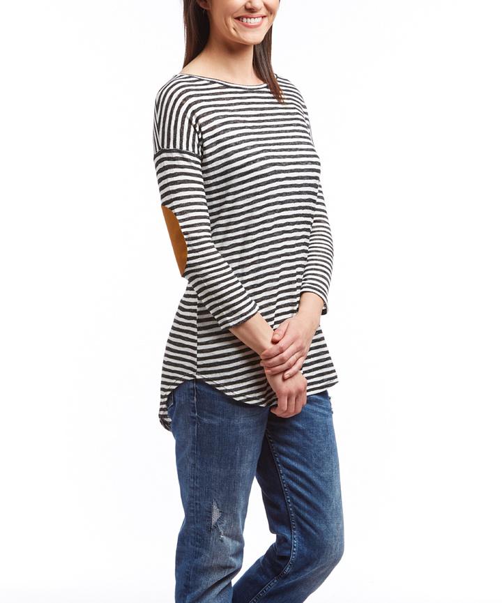 Black & White Stripe Elbow-Patch Tunic