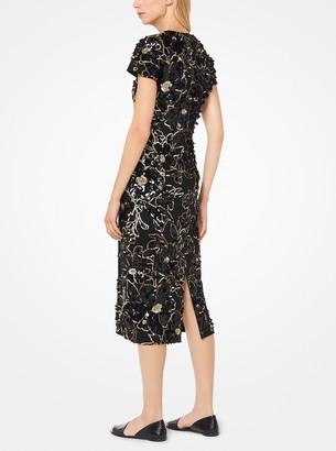 Michael Kors Floral-Embroidered Crepe Dress