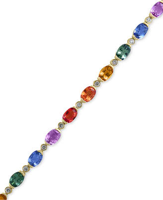 Effy Watercolors by Multi-Color Sapphire (10-3/4 ct. t.w.) and Diamond (1/3 Ct. t.w.) Bracelet in 14k Gold, Created for Macy's