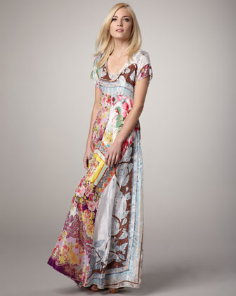Johnny Was Collection Printed Georgette Maxi Dress
