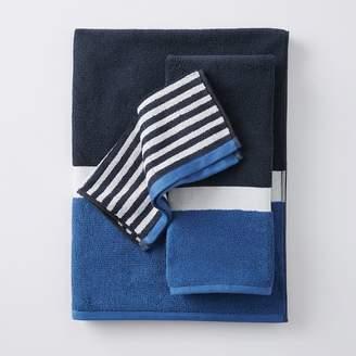 Pottery Barn Teen Color Block Hand Towel, Navy/Blue