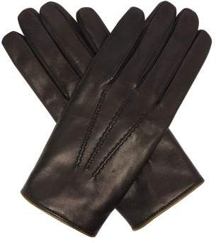Dolce & Gabbana Cashmere Lined Leather Gloves - Mens - Black
