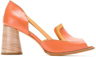 Sarah Chofakian leather rounded heel pumps